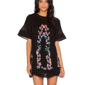 Free People black crochet pink floral mini dress